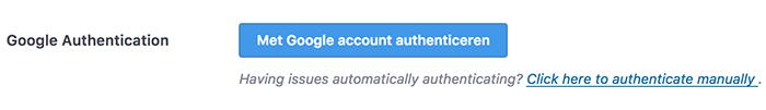 Google authenticatie voor analytics