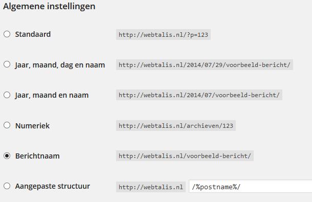 Zoekmachine vriendelijke URL's in WordPress