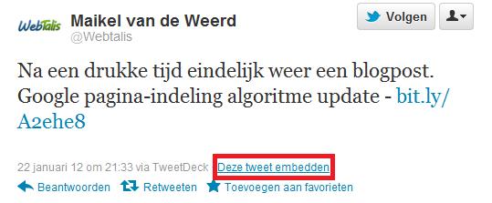 Tweet Embedden