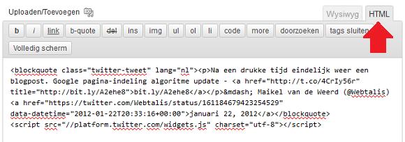 Tweet in WordPress plaatsen