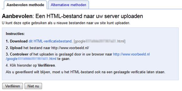 Google Webmasterhulpprogramma's website verifiëren met HTML-bestand