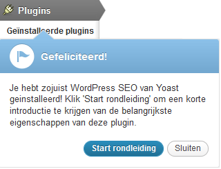 Rondleiding functie in de WordPress SEO plugin door Yoast