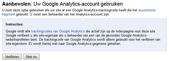 Google Webmasterhulpprogramma's website verifiëren met Google Analytics