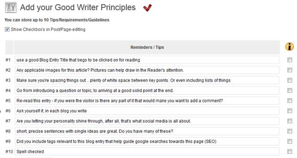 Blogcoach Checklist