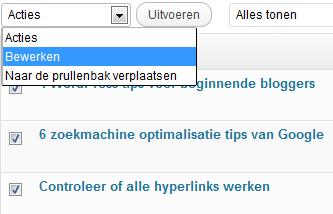 WordPress Berichten bulkbewerken