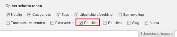WordPress scherminstellingen reacties