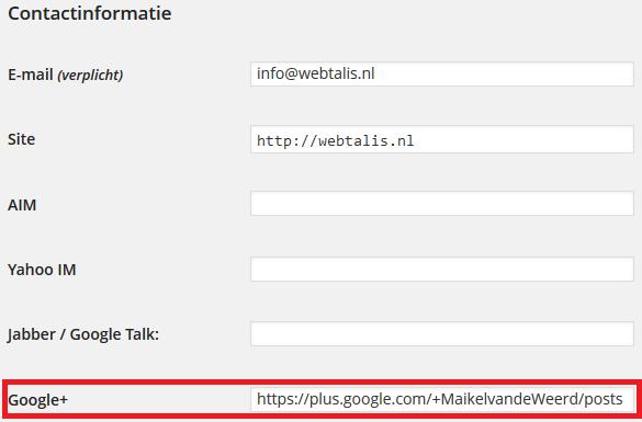 Contactinformatie WordPress