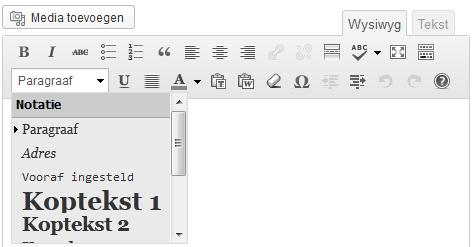 Tussenkoppen in wordpress