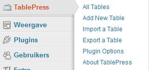 Tablepress menu