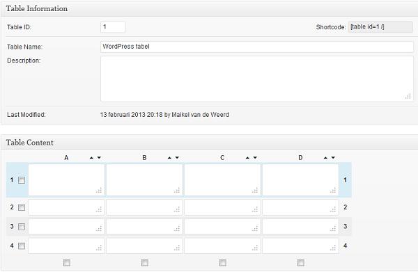 WordPress tabel invullen