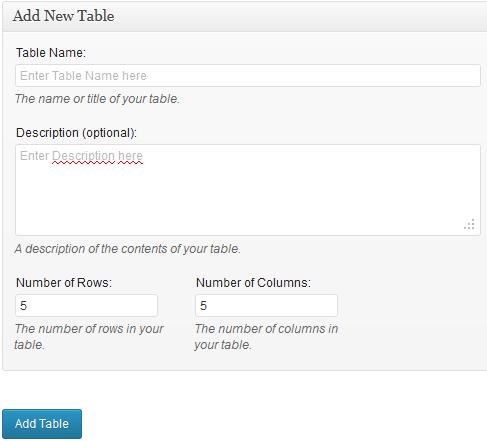 WordPress tabel maken