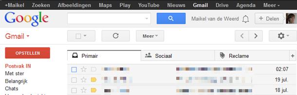 Gmail 3 tabbladen