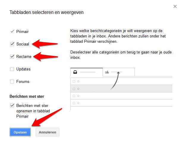 Gmail tabbladen uitvinken