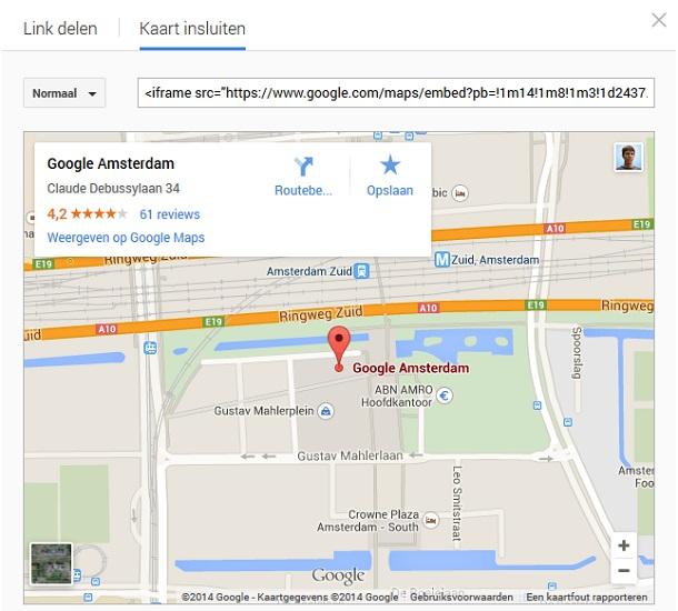 Google maps popup kaart insluiten