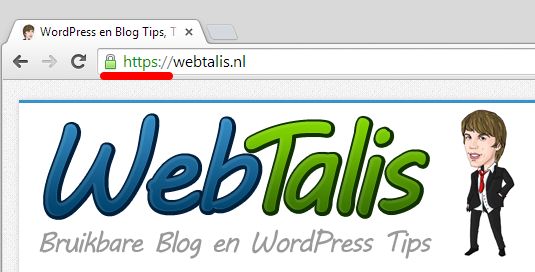 Webtalis HTTPS slotje in Google Chrome