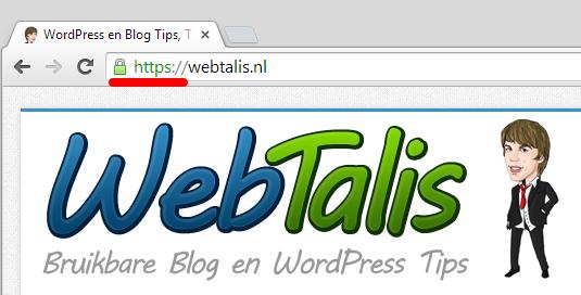 Webtalis HTTPS slotje in Google Chrome