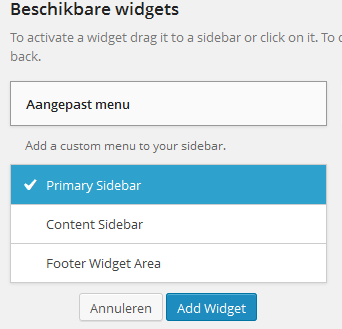 Widgets beheren in WordPress 3.8