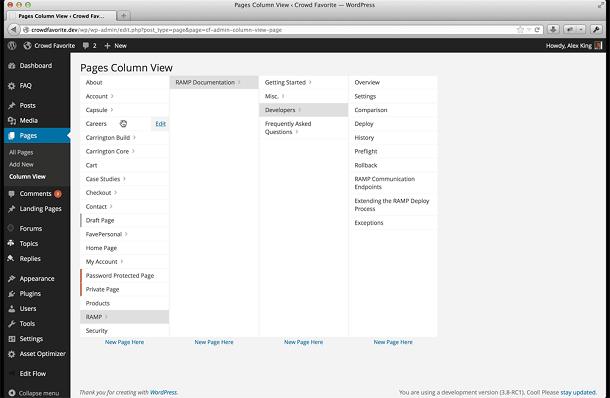 Admin Column View voorbeeld