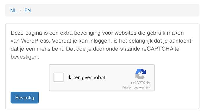 ReCAPTCHA voor de WordPress loginpagina