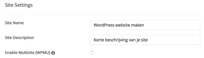 Site settings, een plek om de websitenaam en beschrijving in te vullen