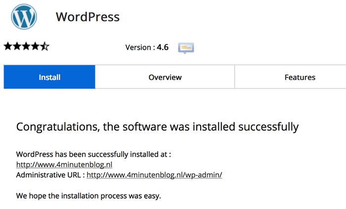 WordPress installatie afgerond