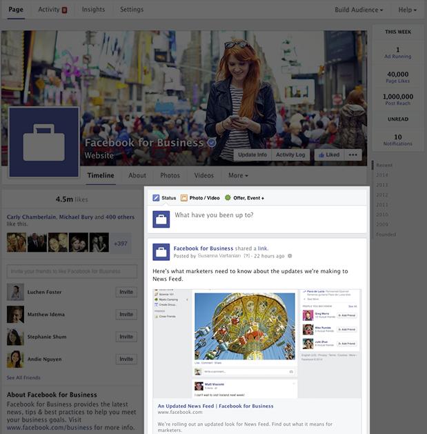 Facebook-pagina rechterkolom