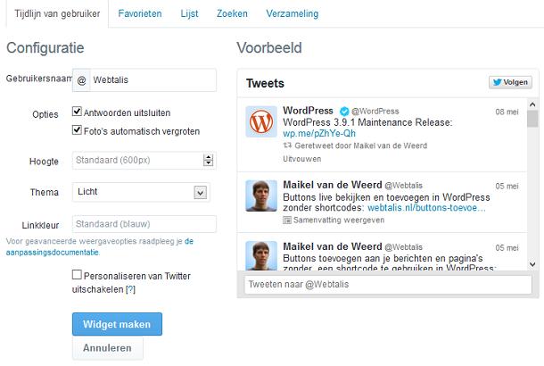 Twitter widget configureren