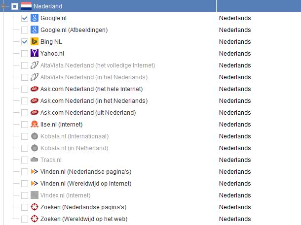 Zoekmachines Nederland in Rank Tracker