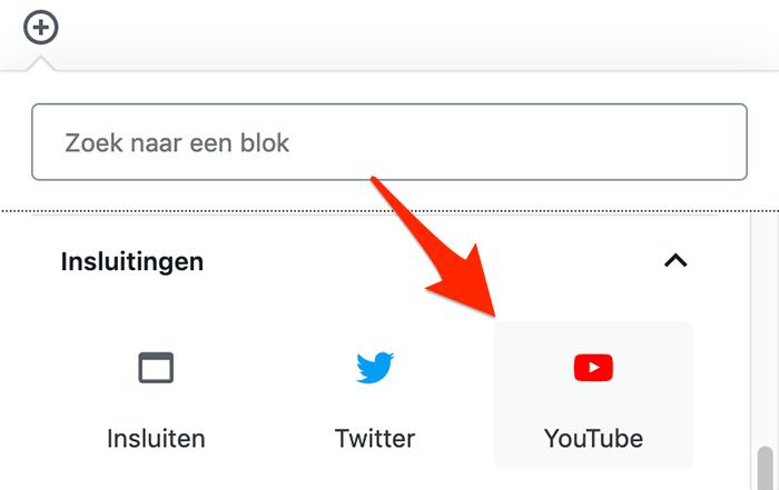 WordPress YouTube Gutenberg blok invoegen