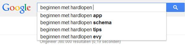 Google Suggesties beginnen met hardlopen