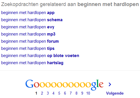 Google Suggesties onderkant pagina