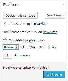 WordPress datum inplannen