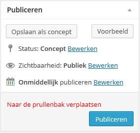 WordPress publiceren box