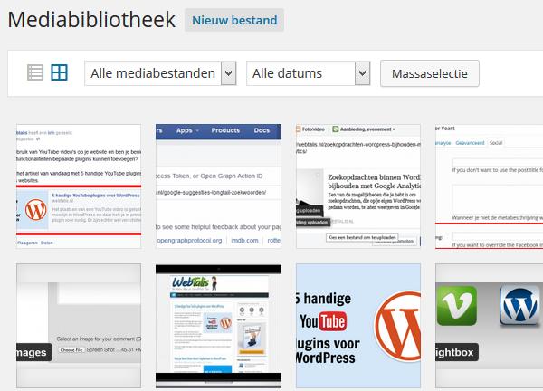 WordPress Mediabibliotheek grid interface