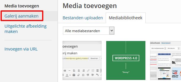 WordPress galerij aanmaken