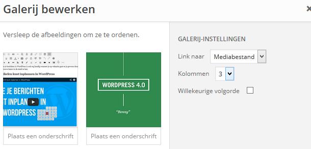 WordPress galerij bewerken