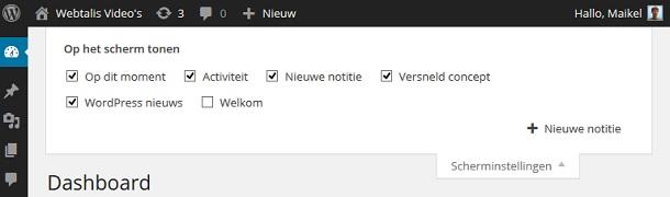 nieuwe notitie aanmaken in WP Dashboard Notes