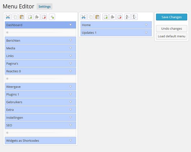 WordPress dashboard menu editor