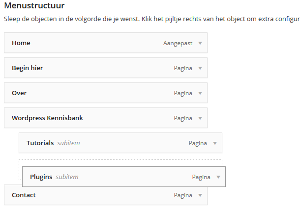 WordPress dropdown menu maken