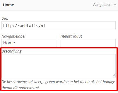 WordPress menu beschrijving
