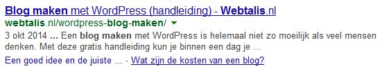 Inhoudsopgave voordeel in Google