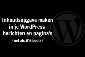 Inhoudsopgave in WordPress maken