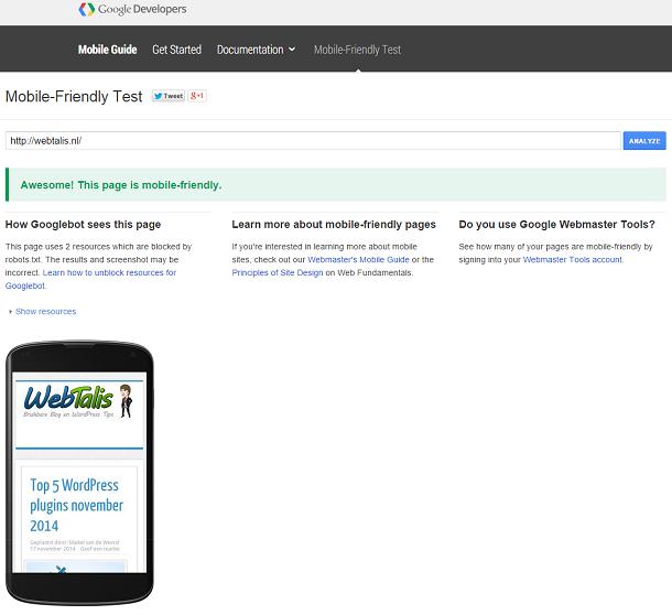 Mobile Friendly test van Webtalis