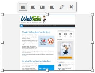 WordPress afbeelding opmaak toolbar