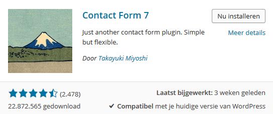 Contact Form 7 nu installeren
