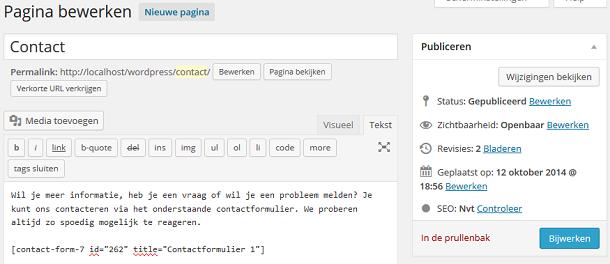 Contactformulier shortcode in pagina plaatsen