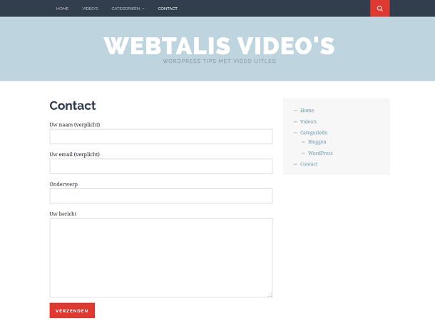 Contactformulier op demowebsite