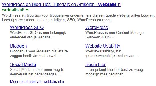 Sitelinks van Webtalis in Google