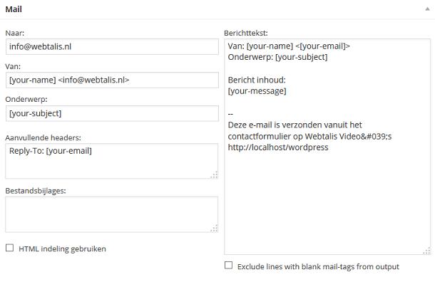 Mail contactformulier bewerken