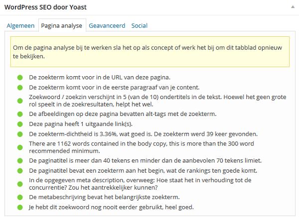 WordPress SEO Yoast pagina analyse